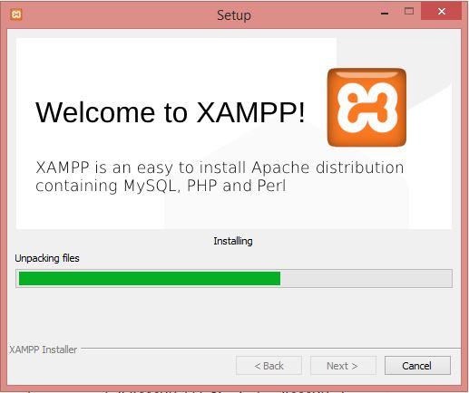 Progress Instalallasi XAMPP
