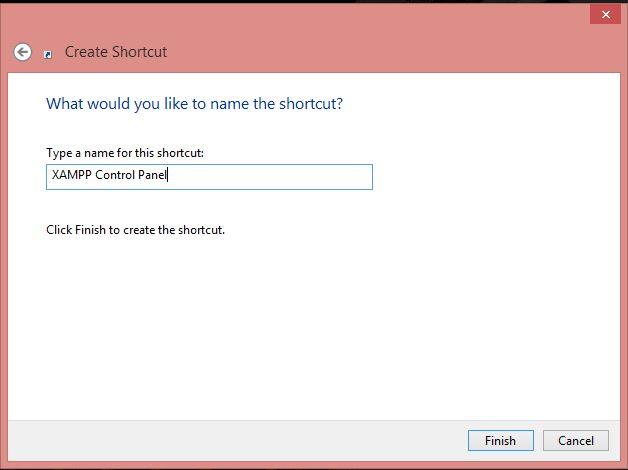 Buat nama shortcut XAMPP